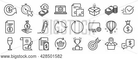 Set Of Line Icons, Such As Get Box, Money Bag, Monitor Settings Icons. Recycling, Technical Info, Wi