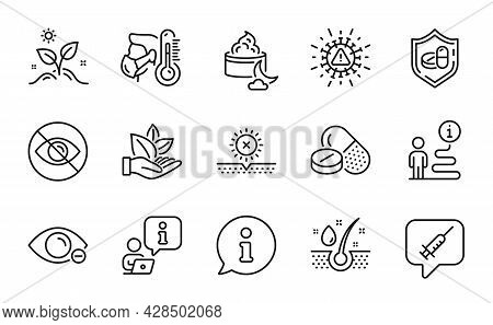 Healthcare Icons Set. Included Icon As Coronavirus, Sick Man, Organic Product Signs. Medical Drugs,