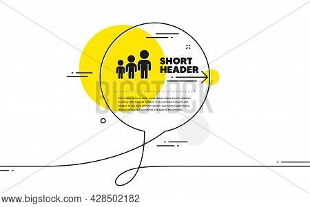 Business Hierarchy Icon. Continuous Line Chat Bubble Banner. Teamwork Meeting Sign. Group People Sym