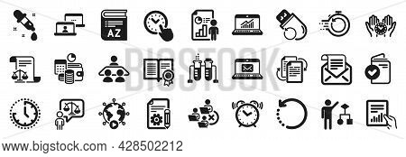 Set Of Education Icons, Such As Remove Team, Documentation, Chemistry Pipette Icons. Document, Algor