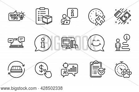 Business Icons Set. Included Icon As Seo Statistics, Puzzle Time, Education Idea Signs. Buy Currency
