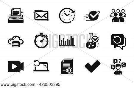 Vector Set Of Group, Video Camera And Time Change Icons Simple Set. Messenger Mail, Timer And Cloud