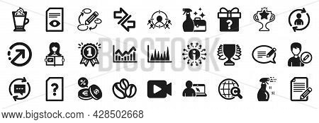 Set Of Simple Icons, Such As Article, Cleaning Spray, Cleanser Spray Icons. Message, Person Info, Vi