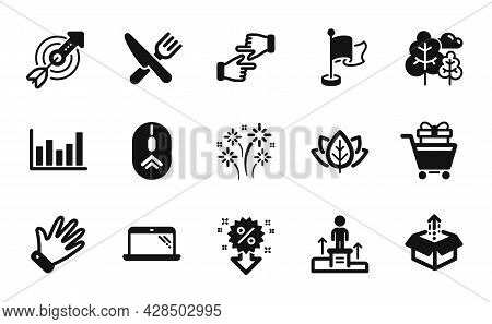 Vector Set Of Shopping Trolley, Tree And Column Chart Icons Simple Set. Food, Send Box And Click Han