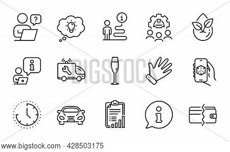 Business Icons Set. Included Icon As Engineering Team, Checklist, 3d App Signs. Hand, Champagne Glas
