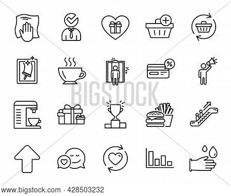 Vector Set Of Coffee, Add Purchase And Burger Line Icons Set. Escalator, Holiday Presents And Romant