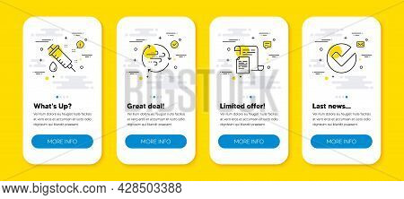Vector Set Of Medical Syringe, Documents And Wind Energy Line Icons Set. Ui Phone App Screens With L