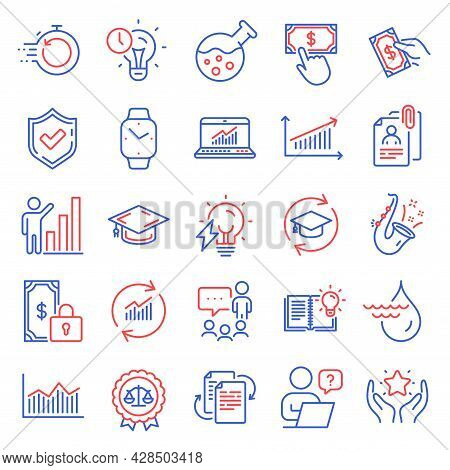 Education Icons Set. Included Icon As Update Data, Time Management, Online Question Signs. People Ch