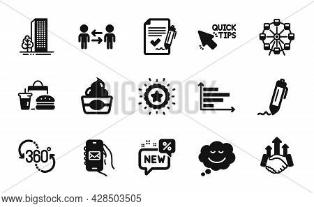 Vector Set Of Signature, Buildings And Deal Icons Simple Set. Speech Bubble, Ferris Wheel And New Ic