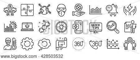 Set Of Science Icons, Such As Safe Energy, Web Tutorials, Analytics Icons. Safe Planet, Puzzle, Webs