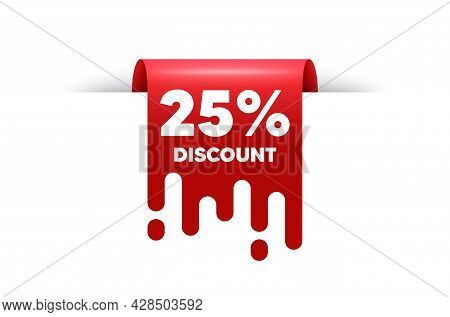 25 Percent Discount. Red Ribbon Tag Banner. Sale Offer Price Sign. Special Offer Symbol. Discount St