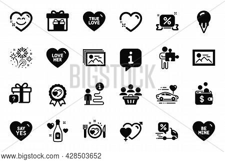 Vector Set Of Holidays Icons Related To Discounts Ribbon, Heart And Buyers Icons. Male Female, Smile