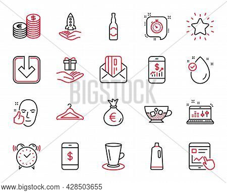 Vector Set Of Line Icons Related To Shampoo, Cloakroom And Cold Coffee Icons. Load Document, Interne
