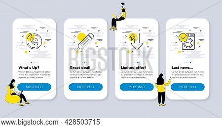 Vector Set Of Business Icons Related To Pencil, Call Center And Energy Drops Icons. Ui Phone App Scr