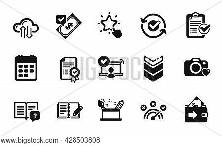 Vector Set Of Online Access, Feedback And Approved Icons Simple Set. Creativity Concept, Photo Camer
