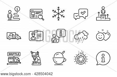 Business Icons Set. Included Icon As Gear, Smile, Identification Card Signs. Rainy Weather, Microsco
