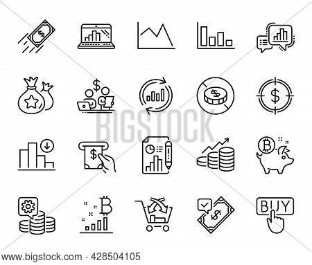 Vector Set Of Decreasing Graph, No Cash And Graph Laptop Line Icons Set. Atm Service, Cross Sell And