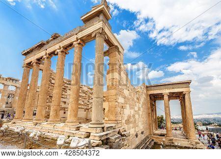 Erechtheion Temple On Acropolis, Athens, Greece. Famous Old Acropolis Hill Is Top Landmark Of Athens