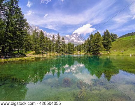 View Of The Scenic Blue Lake (lago Blu) Surrounded By A Beautiful Alpine Landscape Near Cervinia, Ao