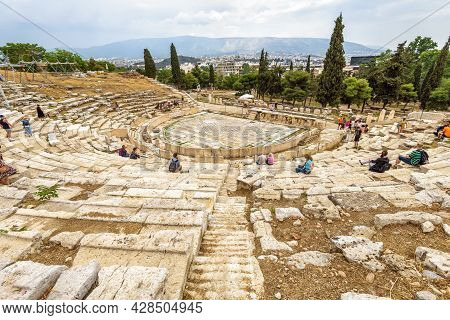 Athens - May 8, 2018: Panorama Of Old Theatre Of Dionysus At Acropolis Foot, Athens, Greece. It Is T
