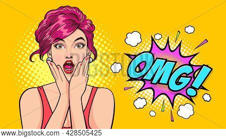 Surprised Young Sexy Woman With Open Mouth Omg Hands On Cheeks In Comic Style