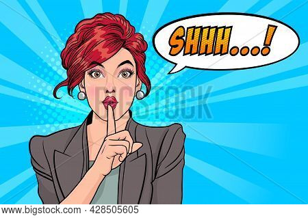 Woman With Finger On Lips, Silence Gesture, Pop Art Style Woman Banner, Shut Up.woman With Message S