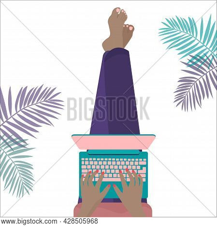 Vector Flat Style Illustration. Freelance Woman Working At Home Office Using Laptop. Freelance Conce