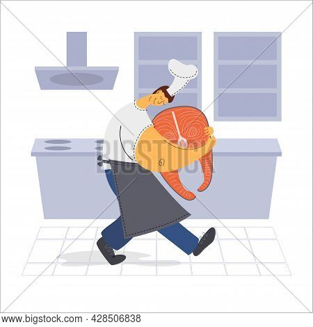 The Chef Carries Salmon In The Kitchen