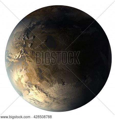 Kepler-186f, The First Earth-size Planet In The Habitable Zone. Gold Super-earth Exoplanet In The Co