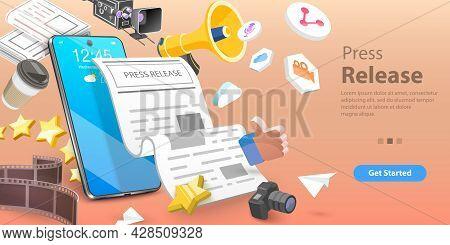 3d Vector Conceptual Illustration Of Press Release, News Media Marketing