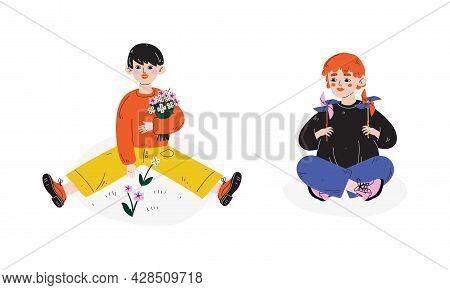 Little Boy Gathering Blooming Flowers And Playing With Pinwheel Enjoying Spring Season Vector Set