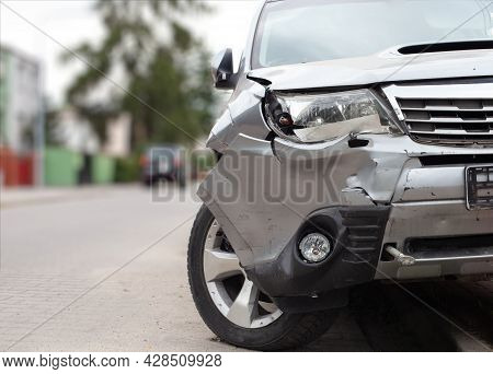 Damaged Car After An Accident. Damaged Vehicle.
