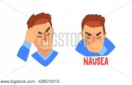 Man Suffering From Severe Headache Holding Hand Against Forehead And Vomiting Vector Set