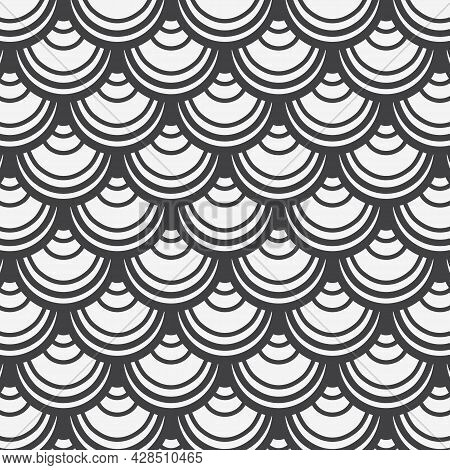 Geometric Vector Pattern, Repeating Abstract Scale Fish Or Sea Waves Or Abstract Curtains On Circle