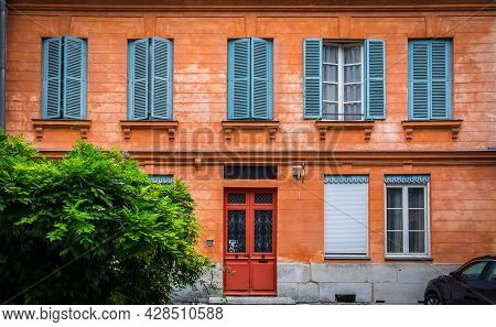 Rouen, France, Oct 2020, View Of A Facade Of A Terracotta Color House In The Old Part Of The City