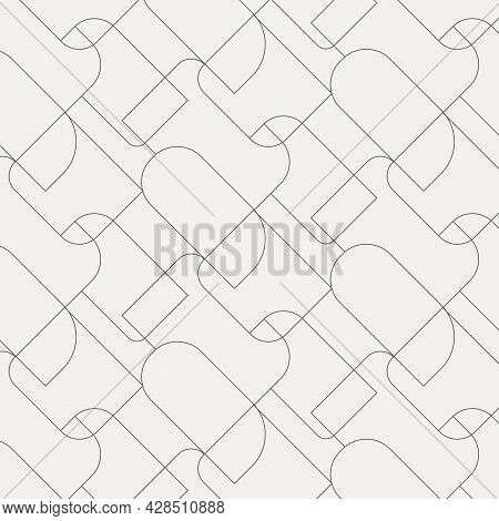 Geometric Vector Pattern, Repeating Thin Linear Square Diamond Shape And Rectangle With Rounded Angl