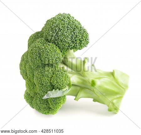 Broccoli Isolated On White Background. Raw Green Broccoli Vegetable. Close Up.