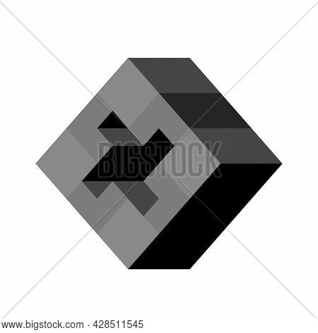 Abstract Cubic Isometric Logo Object, Can Be Used As A Template