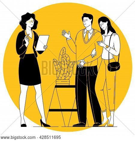 Female Realtor Showing Young Couple Property For Purchase Or Mortgage. Family Make Agreement With Pr