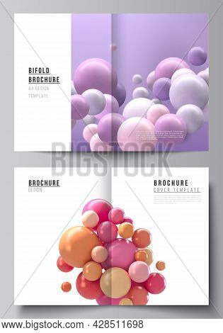 Vector Layout Of Two A4 Cover Mockup Templates For Bifold Brochure, Flyer, Magazine, Cover Design, B