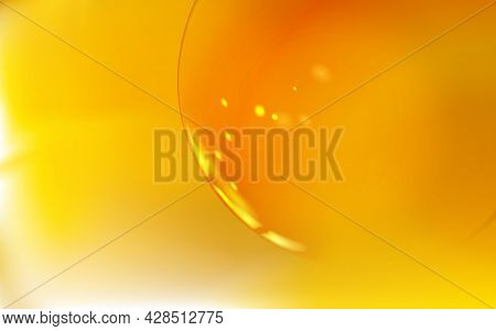 Transparent Bubble, Ball Or Balloon Abstract Realistic Background. Golden Or Yellow Tone. Macro Temp