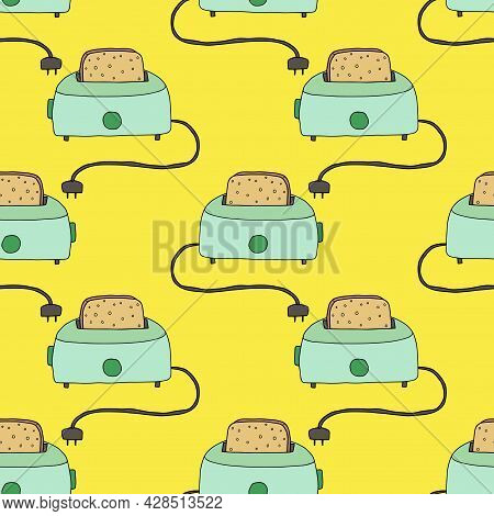 Cute Retro Doodle Toaster With Peace Of Bread Instead Seamless Pattern. Kitchen Concept, Breakfast B