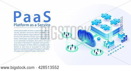 Paas Platform As A Service Concept Infographic. Isometric 3d Vector Illustration Of Different Module