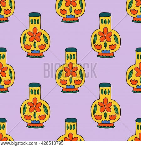 Cute Cartoon Doodle Empty Vase With Floral Ornament Seamless Pattern. Vase Background.