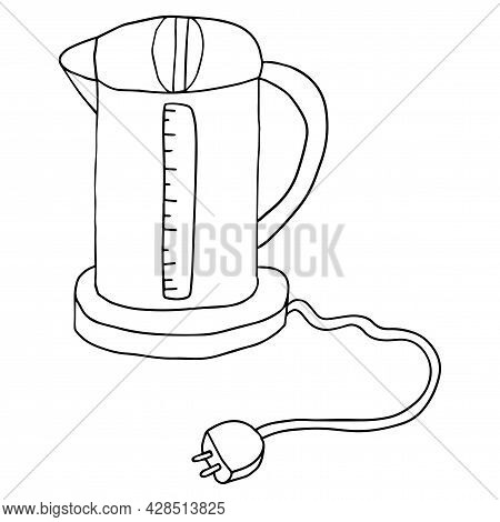 Cute Doodle Electric Kettle Isolated On White Background. Kitchen Equipment.
