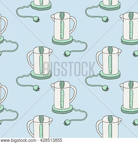 Cute Doodle Electric Kettle Seamless Pattern. Kitchen Equipment Background.