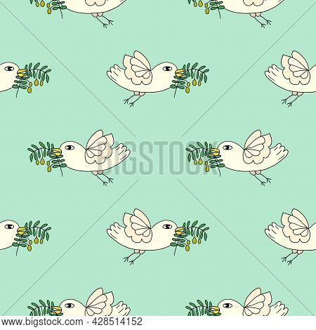 Cartoon Doodle Flying Dove Bird, Pigeon With Olive Branch Seamless Pattern. Peace Symbol Background.