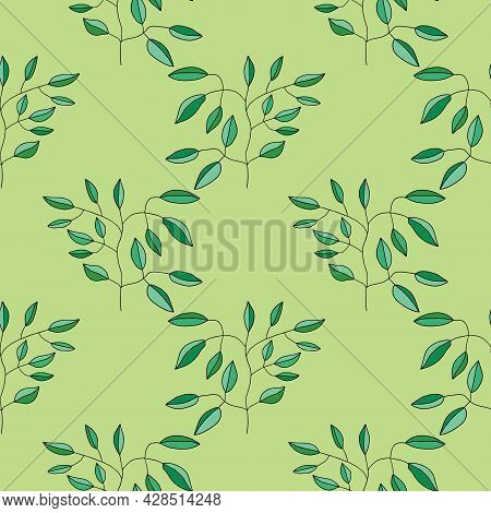 Cute Cartoon Flower Seamless Pattern. Background With Plant, Branch, Leaves. Wrapping Paper, Textile