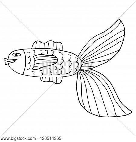 Happy Thin Line Cute Cartoon Doodle Fish. Hand Drawn Cheerful Tropical Aquarium Animal. Icon Isolate