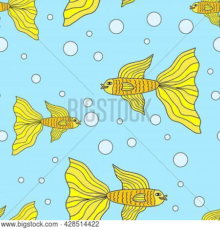 Cute Colorful Cartoon Gold Fish In Doodle Style Seamless Pattern. Tropical Ocean Life. Animal Wrappi